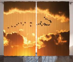 Kuş Sürüsü Bulut Güneş Fon Perde Sarı