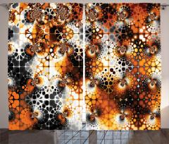 Nostaljik Mozaik Fon Perde Nostaljik Mozaik Desenli Turuncu Siyah
