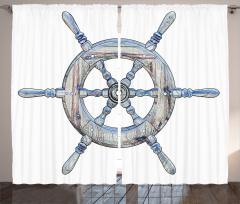 Mavi Renkli Dümen Fon Perde Denizcilik