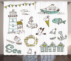 Tekne Fener ve Balık Fon Perde Mavi Beyaz