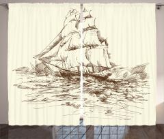Yelkenli Gemi ve Dalga Fon Perde Deniz