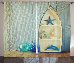 Deniz Yıldızı ve Ağ Fon Perde Deniz Yıldızı Balıkçı Dekoru