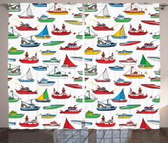 Renkli Gemi Desenleri Fon Perde Rengarenk Gemi Desenleri