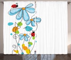 Çiçek ve Uğur Böceği Fon Perde Çeyizlik Şık Mavi Beyaz