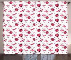 Sevimli Uğur Böcekleri Fon Perde Çeyizlik Şık Çiçek Kırmızı