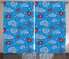 Kalp ve Uğur Böceği Fon Perde Çeyizlik Mavi Kırmızı Çiçek