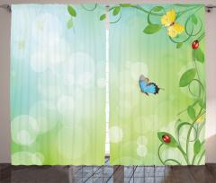Kelebek ve Uğur Böceği Fon Perde Çeyizlik Şık Kelebek Yeşil