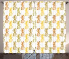 Rengarenk Ananas Fon Perde Beyaz Arka Plan