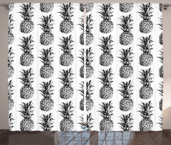 Siyah Beyaz Ananas Fon Perde Dekoratif