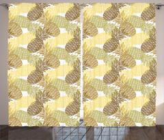 Ananas Desenli Fon Perde Sarı Yeşil ve Kahverengi