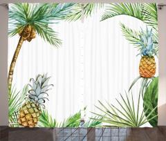 Palmiye Ağacı ve Ananas Fon Perde Beyaz