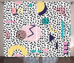 Geometrik Desenli Fon Perde Siyah Beyaz Arka Plan