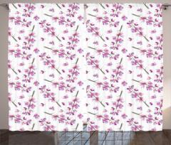 Minik Çiçek Desenli Fon Perde Suluboya Resmi Etkili Çiçek Desenli