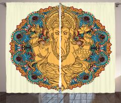 Hint Tarzı Fil Desenli Fon Perde Kahverengi Mavi