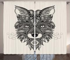 Şal Tarzı Tilki Desenli Fon Perde Siyah ve Beyaz