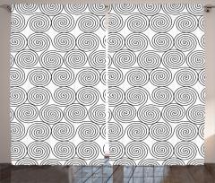 Siyah Beyaz Girdap Fon Perde Şık Tasarım