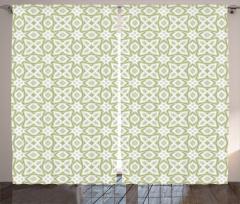 Yeşil ve Gri Geometrik Fon Perde Beyaz Fon