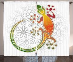 Kurbağa ve Çiçek Fon Perde Rengarenk