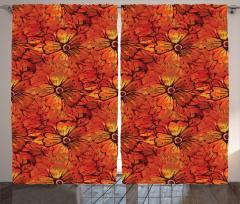 Kırmızı Çiçek Şık Fon Perde Çiçekli Şık Tasarım Kırmızı Sarı