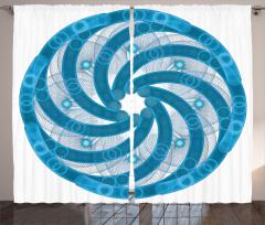 Mavi Beyaz Girdap Fon Perde Ağ Görünümlü