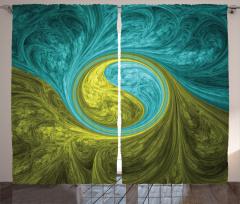 Yeşil Mavi Dini Girdap Fon Perde Dekoratif