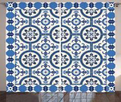 Çini Desenli Fon Perde Mavi Beyaz Çeyizlik