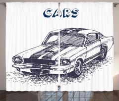 Otomobil Desenli Fon Perde Siyah Beyaz Elle Çizim