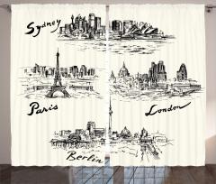 Avrupa Şehirleri Temalı Fon Perde Siyah Beyaz Şık