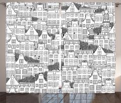 Ev Desenli Fon Perde Siyah Beyaz Elle Çizim Şık