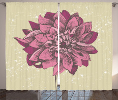 Mor Çiçek Desenli Fon Perde Bahar Temalı Çeyizlik