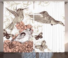 Kuş ve Çiçek Temalı Fon Perde Kahverengi Çeyizlik