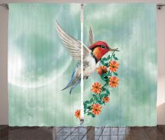 Çiçek ve Kuş Desenli Fon Perde Çeyizlik Trend Şık