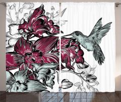 Bordo Çiçek ve Kuş Fon Perde Şık Tasarım