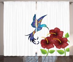 Bordo Çiçek ve Mor Kuş Fon Perde Çeyizlik