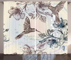 Kuş ve Çiçek Desenli Fon Perde Nostaljik Çeyizlik