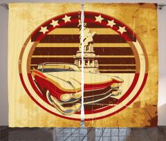 Retro Araba Temalı Fon Perde Sarı Özgürlük Anıtı