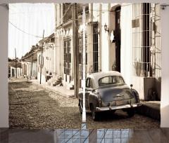Nostaljik Araba Temalı Fon Perde Retro Küba Sokak