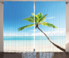 Deniz Manzaralı Fon Perde Palmiye Kumsal Turkuaz