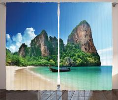 Cennet Plajı Temalı Fon Perde Deniz Yeşil Mavi