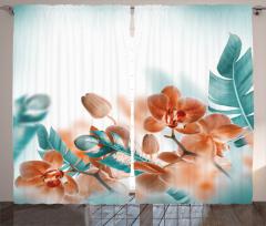 Orkide Desenli Fon Perde Şık Tasarım Çeyizlik Mavi