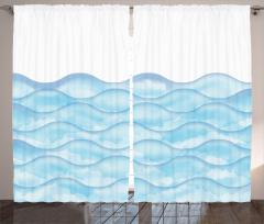 Dalga Desenli Fon Perde Mavi Sulu Boya Şık Tasarım