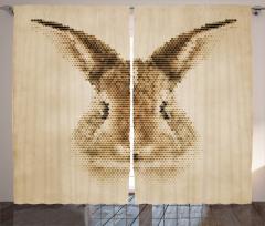 Tavşan Portreli Fon Perde Kahverengi Nostaljik