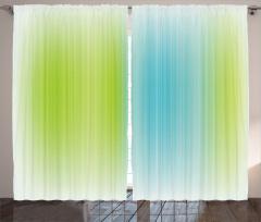 Çizgili Desenli Fon Perde Mavi Yeşil Şık Tasarım
