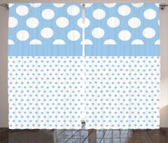 Puantiye Desenli Fon Perde Mavi Beyaz Şık Tasarım