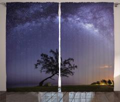 Yıldızlı Gece Fon Perde Gökyüzü Manzaralı