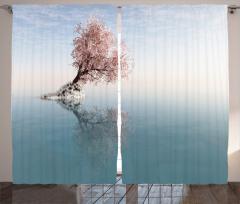 Göl Ortasındaki Ağaç Fon Perde Pembe Mavi