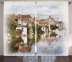 Brugge Kanalı Fon Perde Gotik Mimari