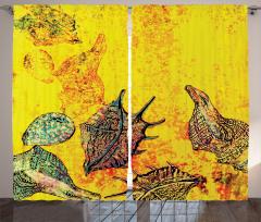 Deniz Kabuğu Desenli Fon Perde Deniz Kabuğu Sualtı Yaşam Temalı