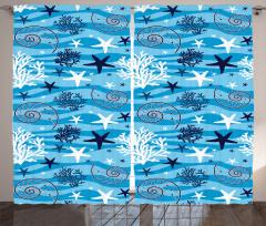 Su Altı Yaşamı Fon Perde Deniz Yıldızı Mavi