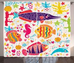 Rengarenk Balık Desenli Fon Perde Deniz Trend Şık